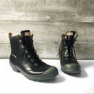 Hunter Brixen black lace up short rain boots